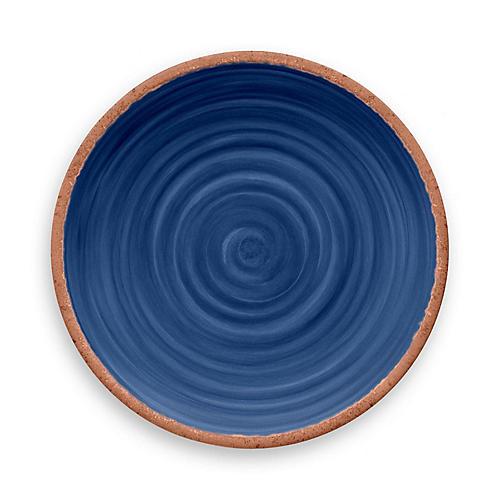 S/12 Rustic Swirl Melamine Dinner Plates, Indigo