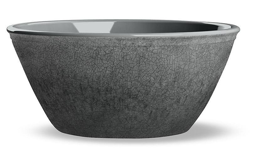 S/6 Potters Melamine Bowls, Gray