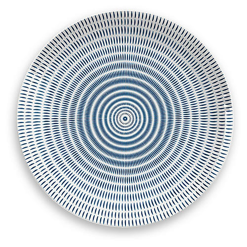 S/12 Indochine Ikat Melamine Dinner Plates, Blue