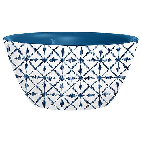 S/4 Indochine Ikat Melamine Bowls, Blue