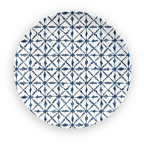 S/4 Indochine Melamine Salad Plates, Blue/White
