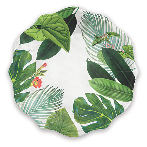 S/12 Amazon Floral Melamine Salad Plates, Green