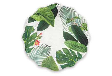 S/4 Amazon Floral Melamine Salad Plates, Green