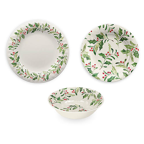 Asst. of 12 Mercer Dinnerware Set, Cream/Multi