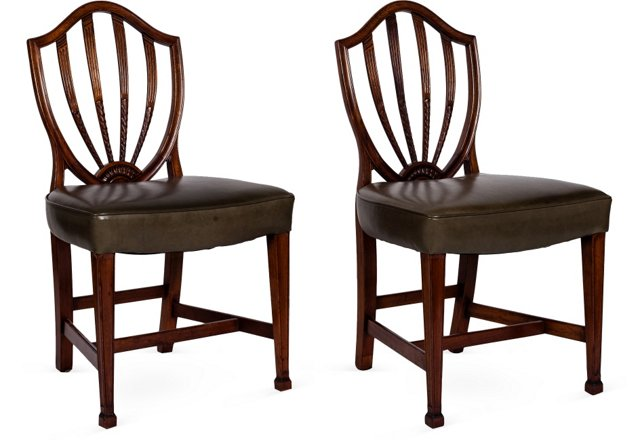 Leather Fan-Back Dining Chairs, Set of 4