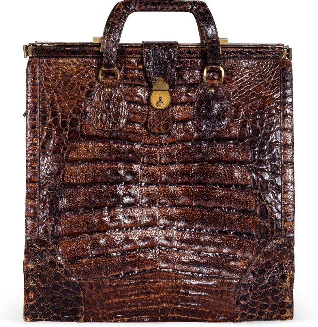 Vintage Oversize Crocodile Satchel