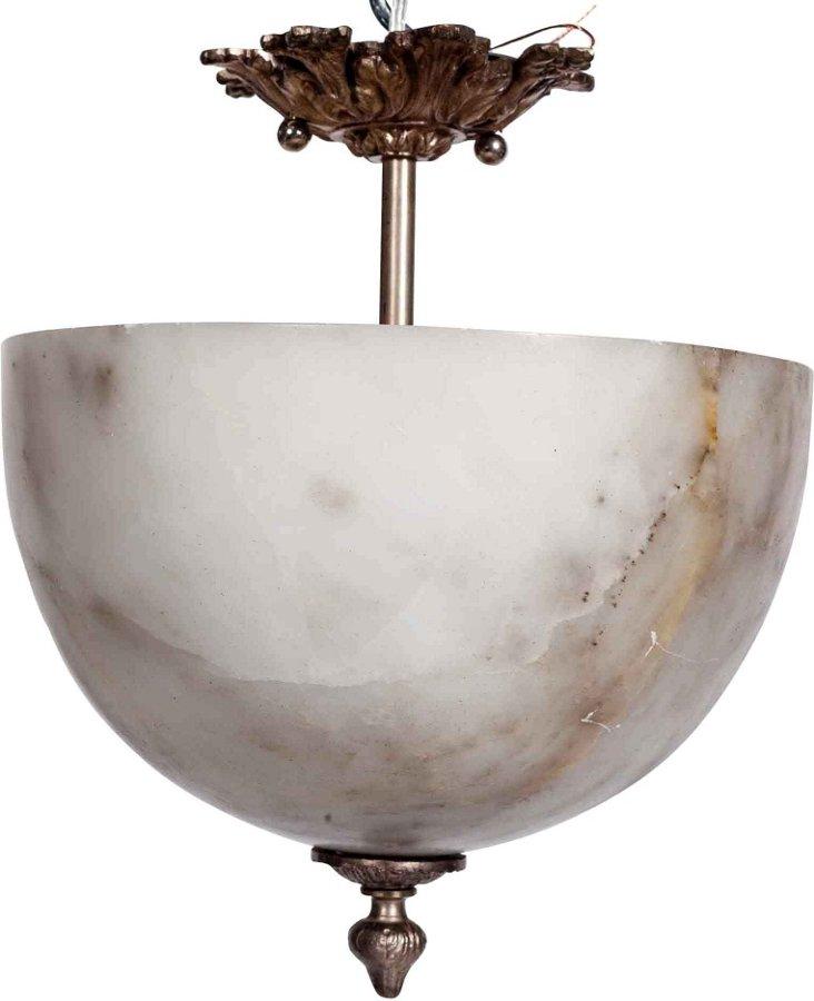 Vintage Alabaster Domed Light Fixture
