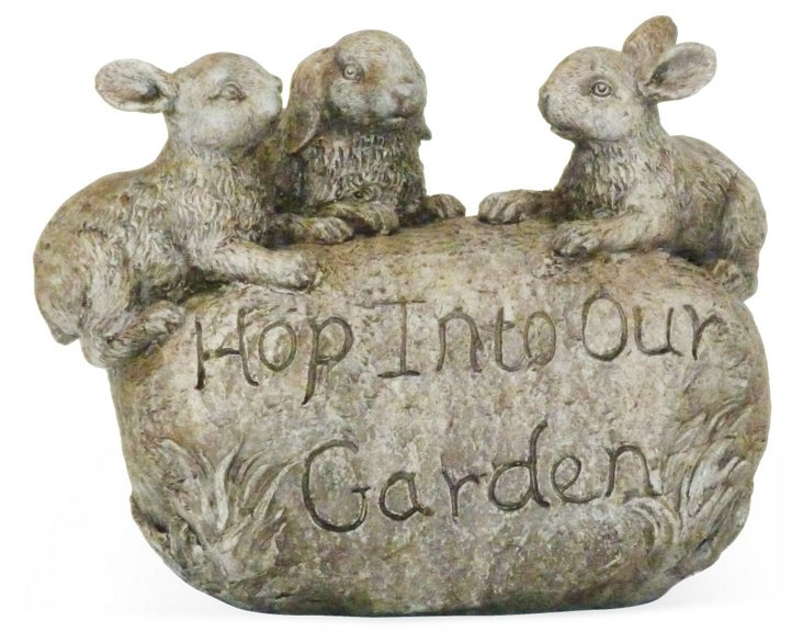 "11"" Rabbit Welcome Garden Stone"