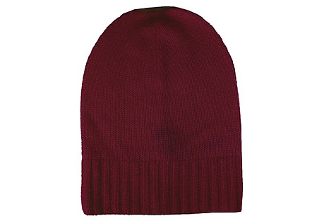 Cashmere Slouchy Hat, Burgundy