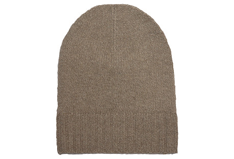 Cashmere Slouchy Hat, Taupe