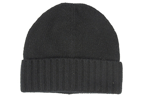 Cashmere Slouchy Hat, Black
