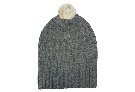 Cashmere Slouchy Hat w/ Pom, Charcoal