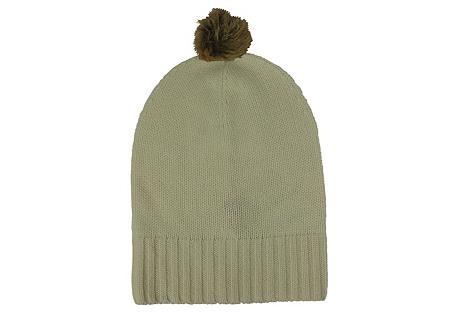 Cashmere Slouchy Hat w/ Pom, Ivory