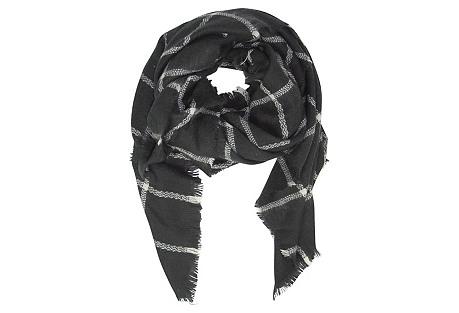 Windowpane Blanket Scarf, Black/Ivory