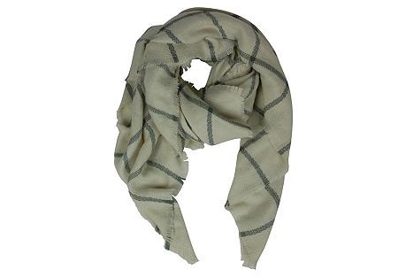 Windowpane Blanket Scarf, Ivory/Gray