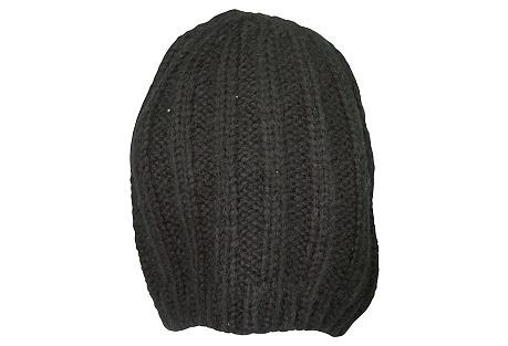 Rib-Knit Slouchy Beret, Black