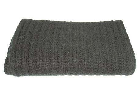 Rib-Knit Scarf, Black