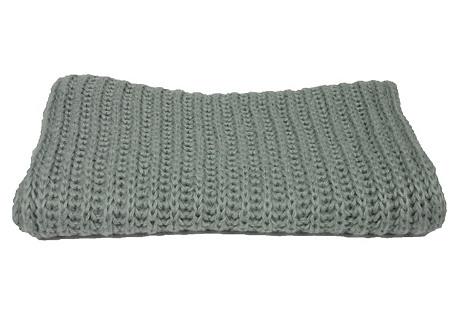 Rib-Knit Scarf, Light Gray