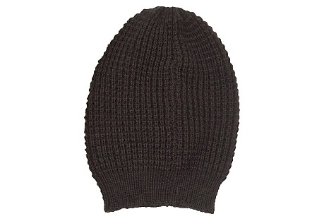 Waffle-Knit Slouchy Hat, Black
