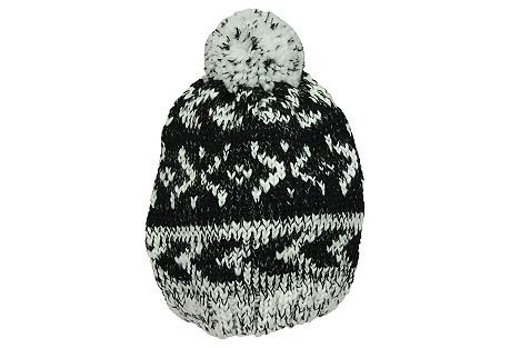 Fair Isle Hat, Black/White