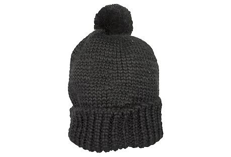 Slouchy Knit Hat w/ Mini Pom, Black
