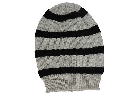 Striped Slouchy Hat, Wheat/Black