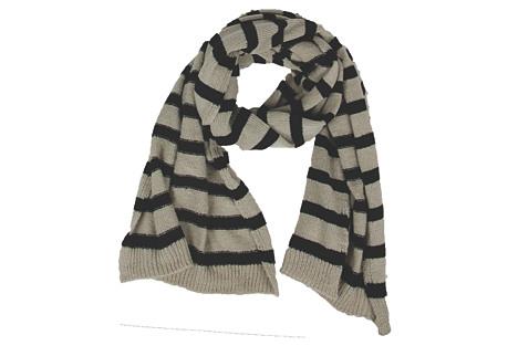 Striped Scarf, Wheat/Black
