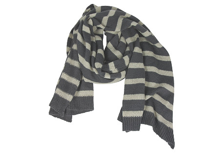 Striped Scarf, Gray/Wheat