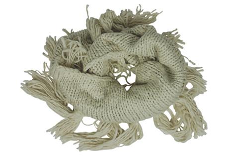 Double Loop Knit Scarf w/ Fringe, Oat