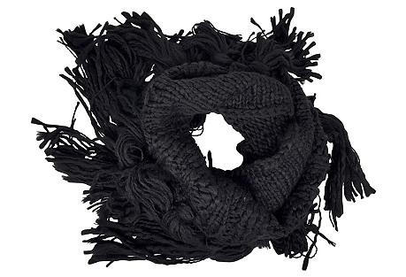 Double Loop Knit Scarf w/ Fringe, Black