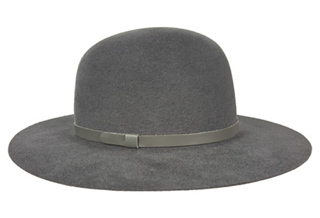 Small-Brim Round Velour Hat, Charcoal