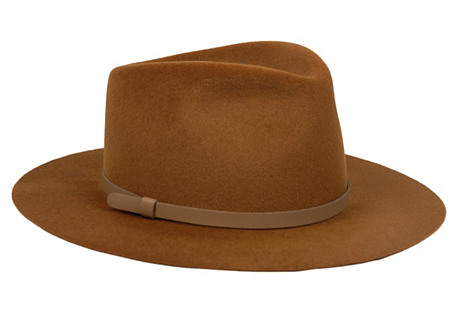 Small-Brim Round Velour Hat, Tobacco