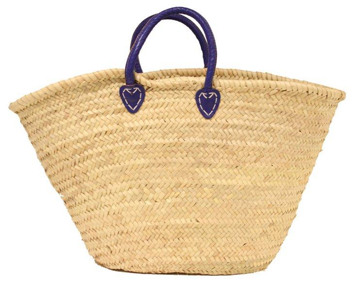 Large Palm-Leaf Basket, Navy