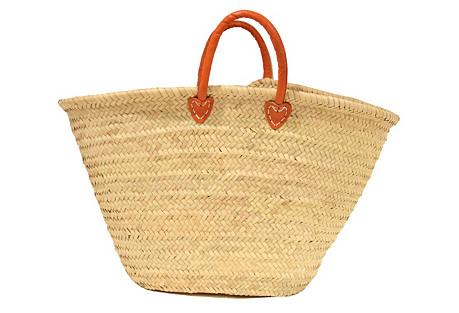 Large Palm-Leaf Basket, Orange