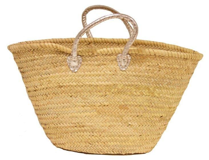 Large Palm-Leaf Basket, Silver