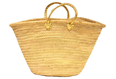 Large Palm-Leaf Tote, Gold