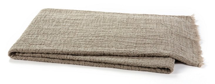 Monaco Linen Throw, Flax
