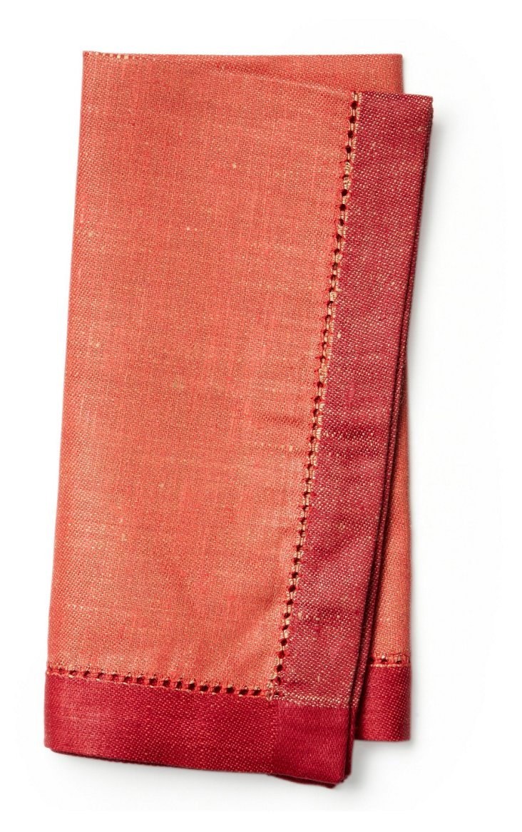 S/4 Versailles Dinner Napkins, Coral Red