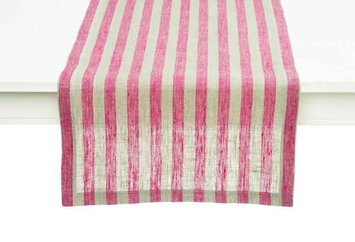 Serenite Striped Table Runner, Pink