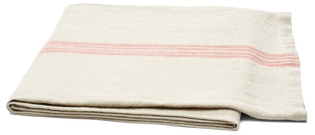 Striped Linen Throw, Natural/Red