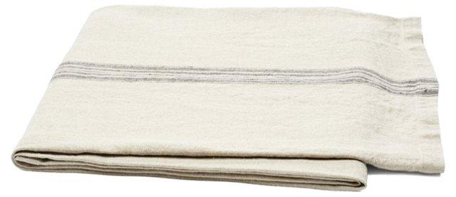 Striped Linen Throw, Natural/Black
