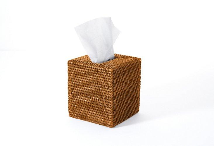 """5"""" Square Tissue Box, Rattan, Tobacco"""
