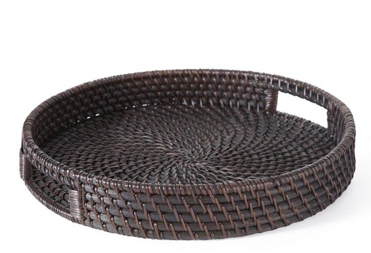 """13"""" Round Rattan Tray, Chocolate"""