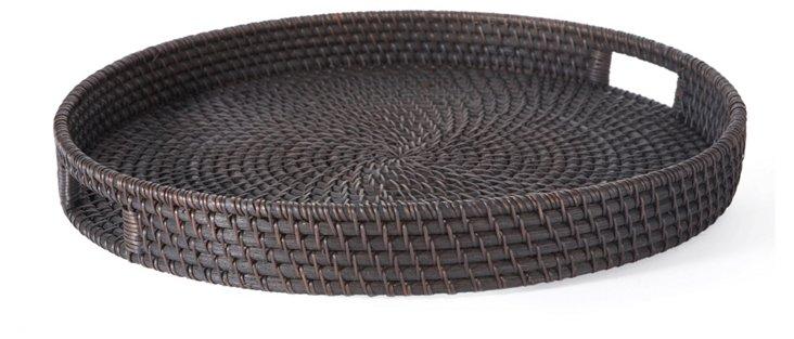 """19"""" Round Rattan Tray, Chocolate"""