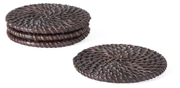 S/4 Rattan Coasters, Chocolate