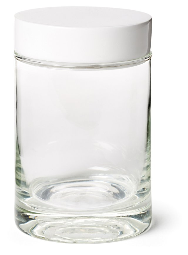 Classic Lacquer Canister, White/Clear