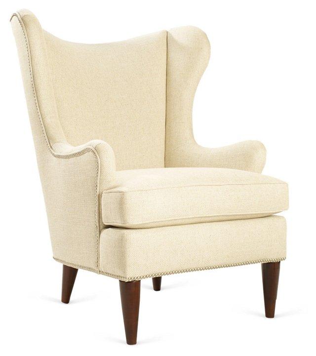 Elana Wingback Chair, Cream