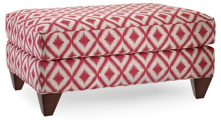 Miley Ikat Ottoman, Red/Taupe