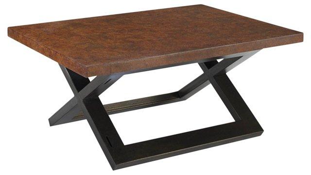 "Hudson 48"" Cork Coffee Table, Brown"