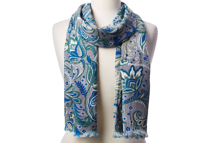 Scarf, Gray/Blue